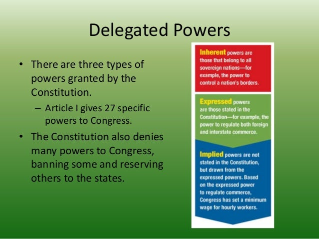 Delegated Powers Examples