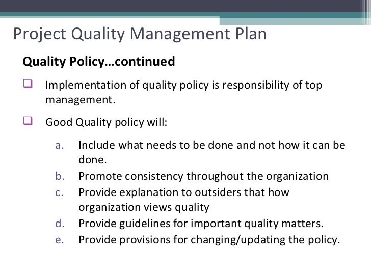 Project Quality Planning And Kickoff