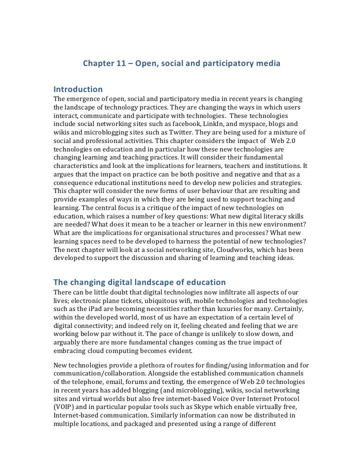 Chapter 11 – Open, social and participatory mediaIntroductionThe emergence of open, social and participatory media in rece...