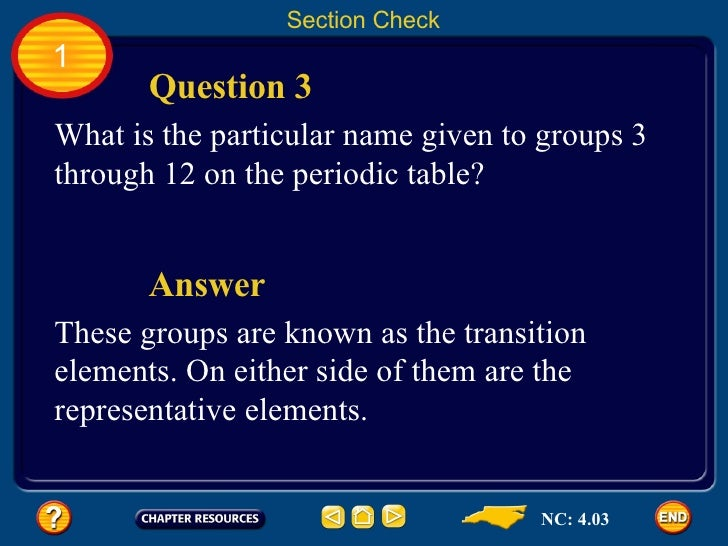 nc 403 30 1 section check question 3 what is the particular name given to groups 3 through 12 on the periodic table - Periodic Table Group Names 3 12