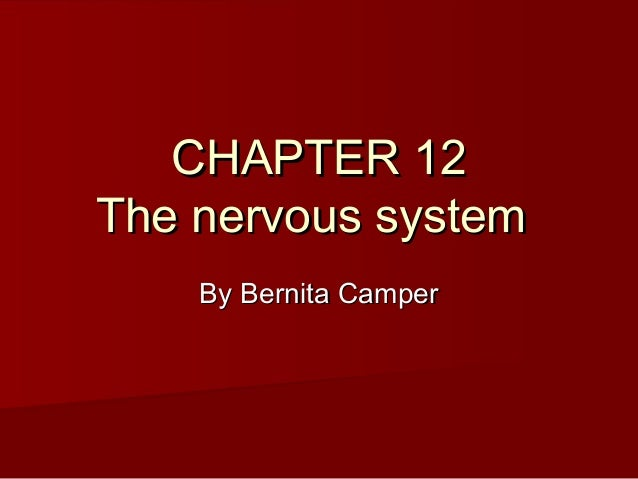CHAPTER 12CHAPTER 12 The nervous systemThe nervous system By Bernita CamperBy Bernita Camper