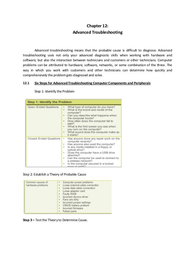 Chapter 12: Advanced Troubleshooting Advanced troubleshooting means that the probable cause is difficult to diagnose. Adva...