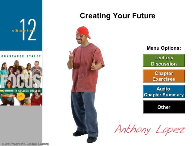 Creating Your Future  Menu Options: Lecture/ Discussion Chapter Exercises Audio Chapter Summary  Other  © 2014 Wadsworth, ...