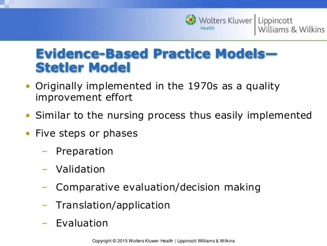 application of evidenced based practice