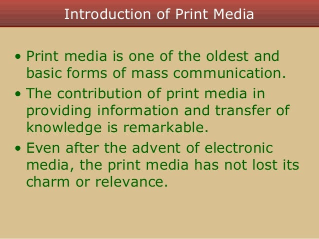 introduction to print media