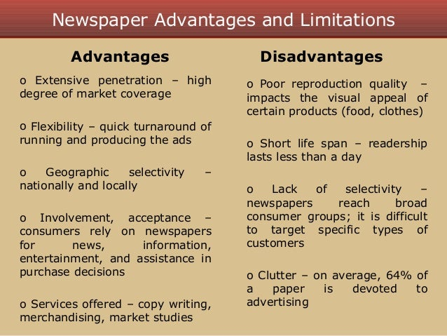 Essay newspaper advantages disadvantages