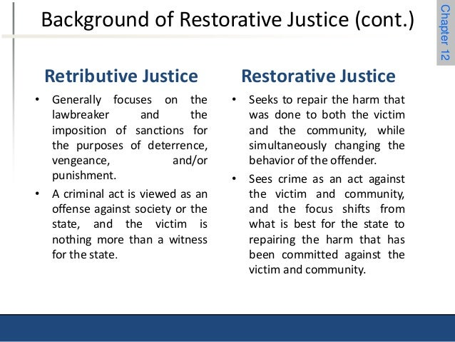 restorative justice vs the criminal justice system Is this program or policy in use in your community tell us about it description restorative justice in the criminal justice system uses victim and offender dialogue to address the harm caused by a crime as well as victims' experiences, interests and needs (latimer 2005.