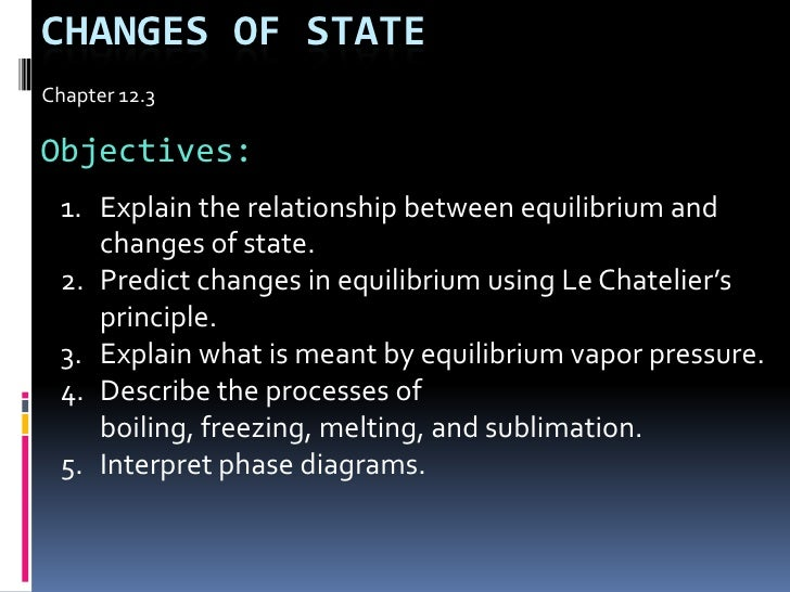 Changes Of state<br />Chapter 12.3<br />Objectives:<br />Explain the relationship between equilibrium and changes of state...
