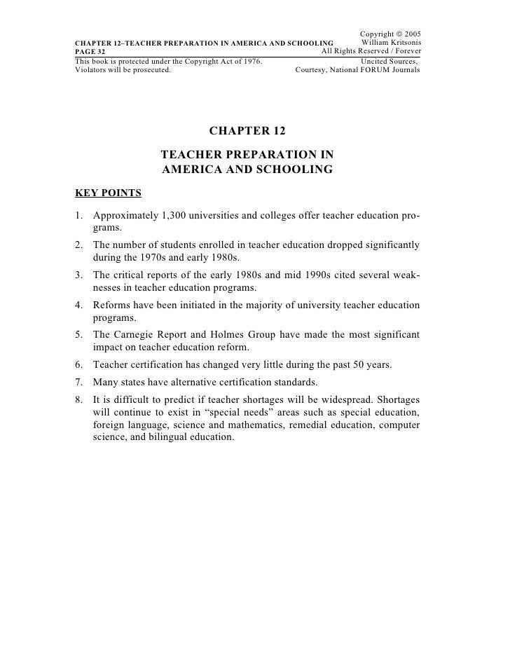 Copyright © 2005CHAPTER 12–TEACHER PREPARATION IN AMERICA AND SCHOOLING          William KritsonisPAGE 32                 ...