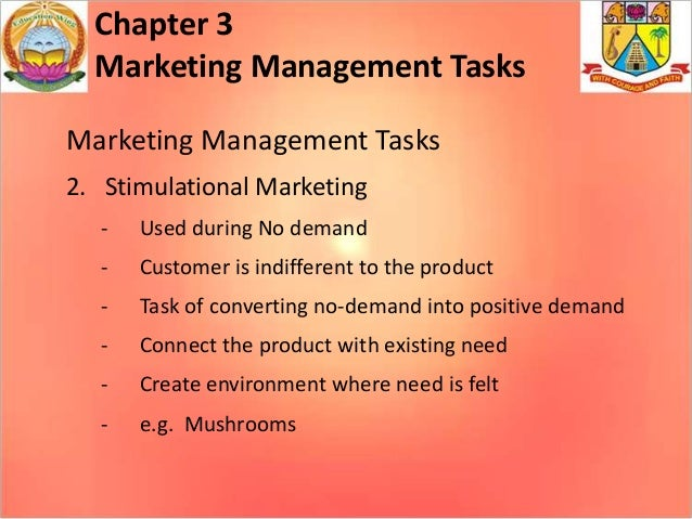 major tasks of marketing management Marketing major description: a program that generally prepares individuals to undertake and manage the process of developing consumer audiences and moving products.