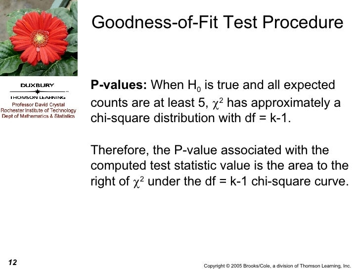 Goodness-of-Fit Test Procedure P-values:  When H 0  is true and   all expected counts are at least 5,   2  has approximat...