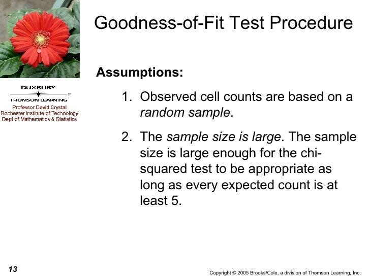 Goodness-of-Fit Test Procedure <ul><li>Assumptions:   </li></ul><ul><ul><li>Observed cell counts are based on a  random sa...