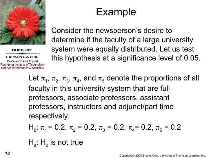 Example Consider the newsperson's desire to determine if the faculty of a large university system were equally distributed...