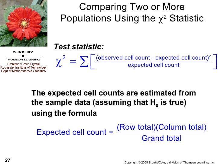 Comparing Two or More Populations Using the   2  Statistic The expected cell counts are estimated from the sample data (a...