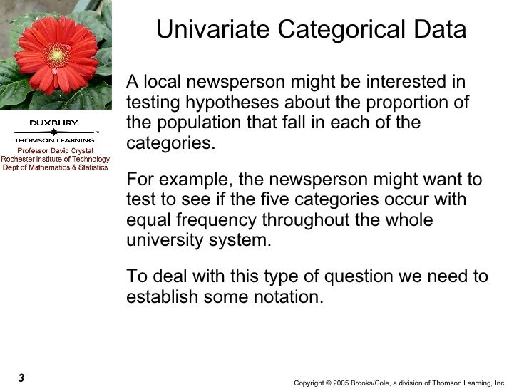 Univariate Categorical Data <ul><li>A local newsperson might be interested in testing hypotheses about the proportion of t...