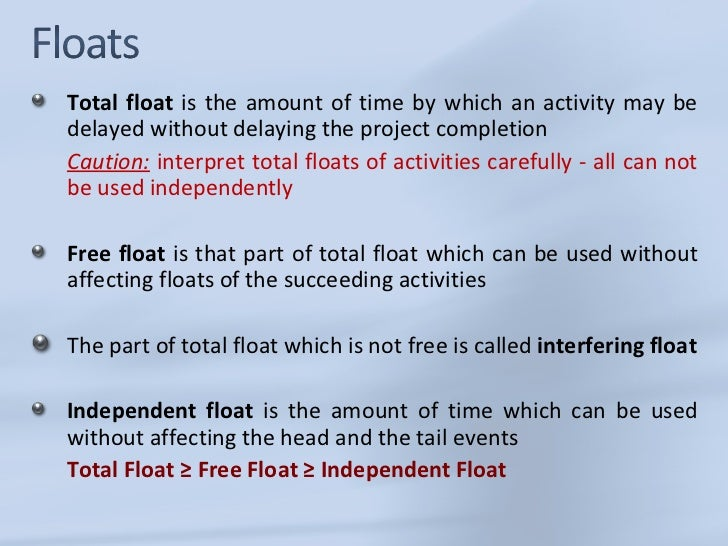 types of float in project management pdf