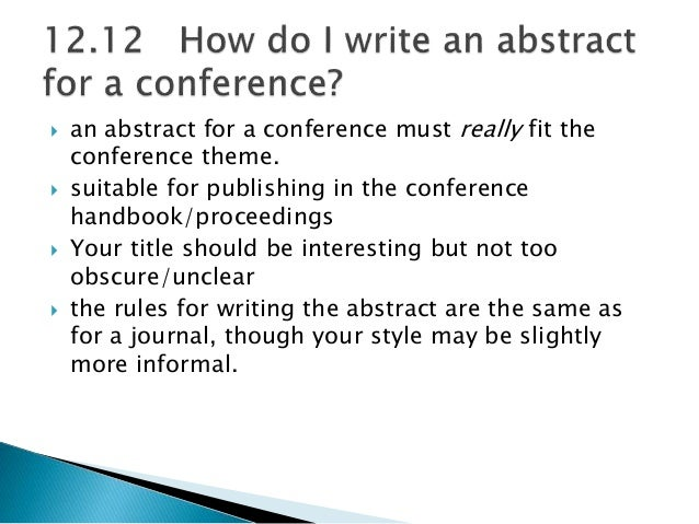 Tips on writing an abstract for a conference paper