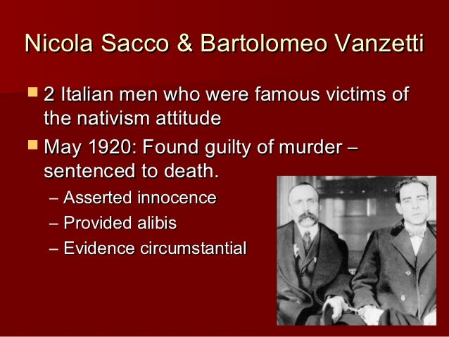 An essay on the trial of nicola sacco and bartolomeo vanzetti