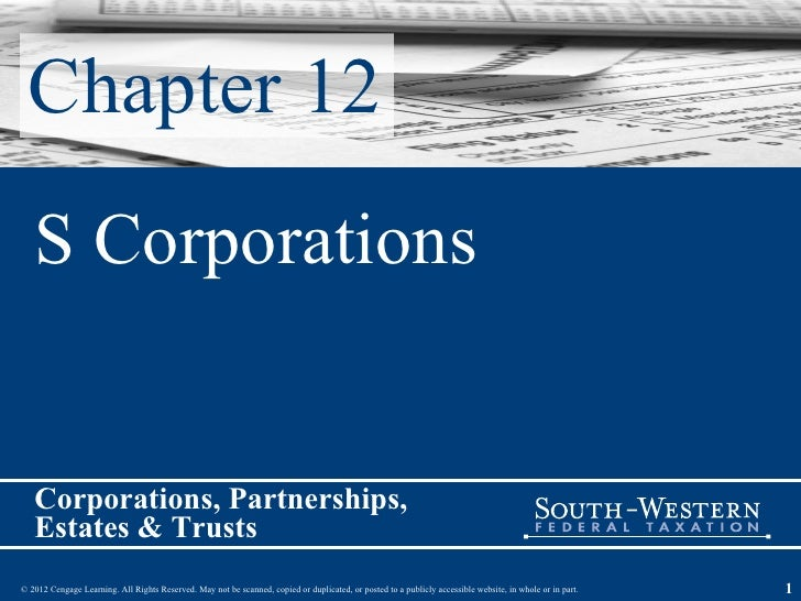 Chapter 12 S Corporations