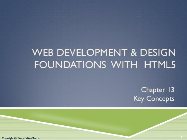 Copyright © Terry Felke-Morris WEB DEVELOPMENT & DESIGN FOUNDATIONS WITH HTML5 Chapter 13 Key Concepts 1Copyright © Terry ...