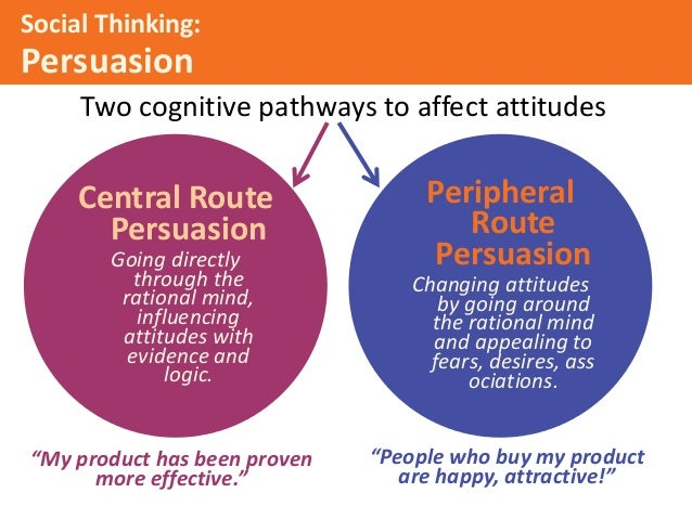 peripheral route and central route to persuasion However, nobody can hope to persuade anybody with 100% guaranteed success: you can only design for persuasion ultimately, that as such, they either experience high or low elaboration, and whichever of these will determine whether they use central or peripheral route processing central route.