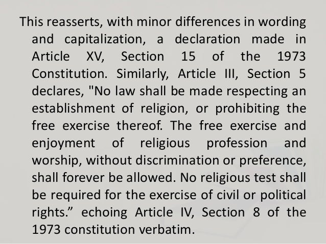 section 6 the seperation of the church and state shall be inviolable Section 6 of article ii (declaration of state policies and principles) — the  separation of church and state shall be inviolable and, section 5 of.