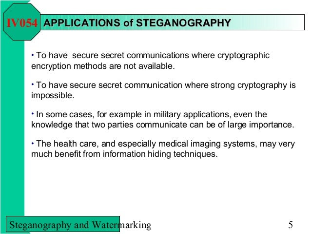 steganography cryptography and watermarking Cryptography — the science of writing in secret codes — addresses all  2000) and information hiding techniques for steganography and digital watermarking,.