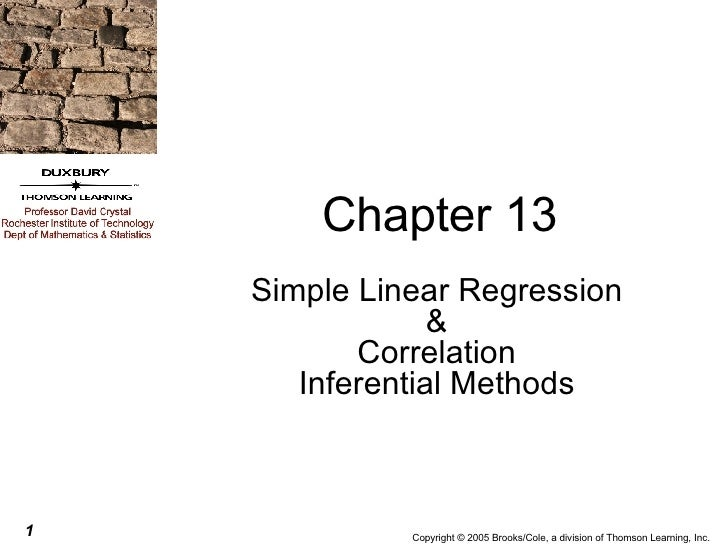 Chapter 13 Simple Linear Regression & Correlation Inferential Methods