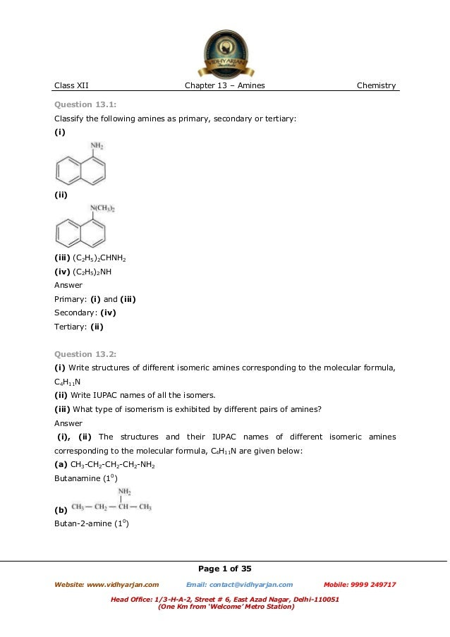 Class XII  Chapter 13 – Amines  Chemistry  Question 13.1: Classify the following amines as primary, secondary or tertiary:...
