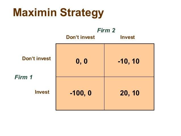 Economics solution on maximin strategy.