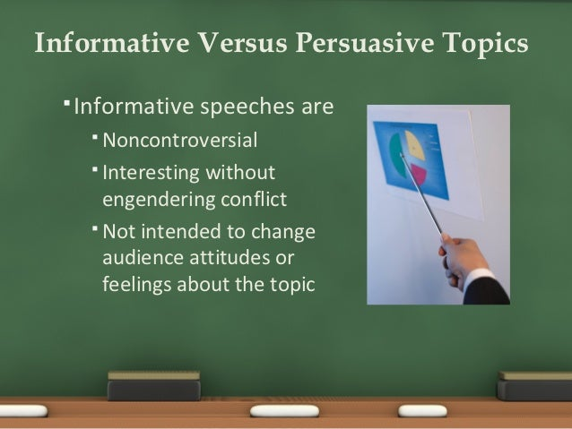 persuasive and informative speechesi The difference: informative versus persuasive versus after dinner speeches informative speech--give us information that describes something or states how to do something it does not give your opinion as a main point it avoids making judgments that the things you are talking about are bad/good, etc.