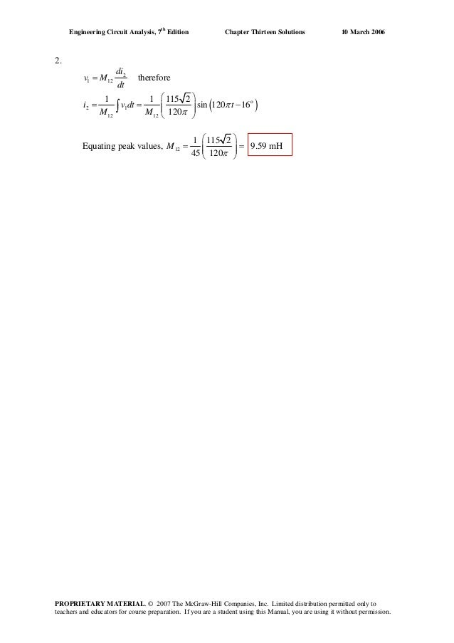 Chapter 13 Solutions To Exercises Engineering Circuit