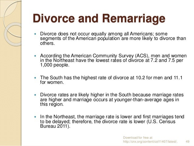 divorces occur at __________ in remarriages than in first marriages