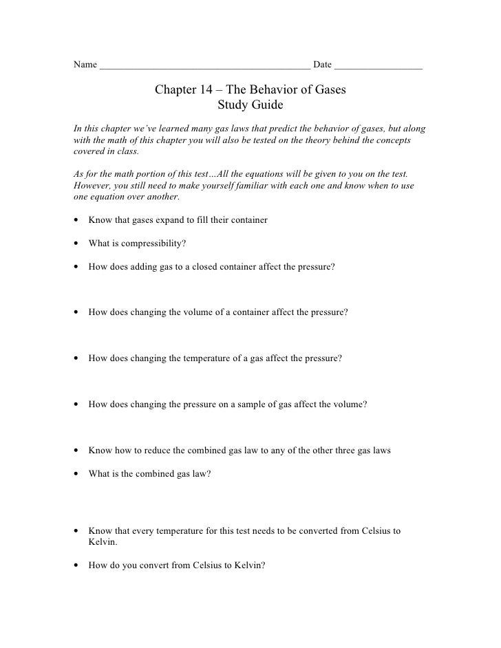 Chemistry Chp 14 The Behavior Of Gases Study Guide