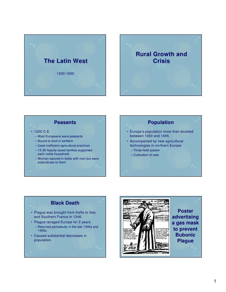 Rural Growth and         The Latin West                                       Crisis                  1200-1500           ...