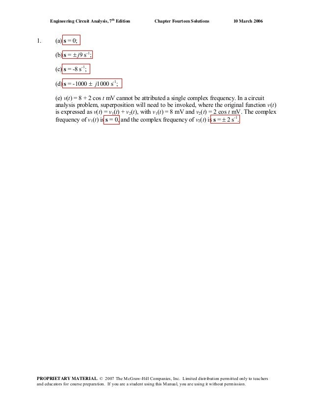 Engineering Circuit Analysis, 7th Edition  1.  Chapter Fourteen Solutions  10 March 2006  (a) s = 0; (b) s = ± j9 s-1; (c)...