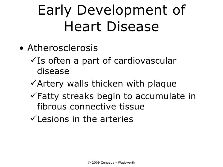 Early Development of        Heart Disease• Atherosclerosis  Is often a part of cardiovascular   disease  Artery walls th...