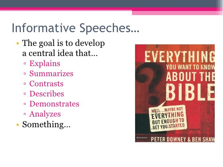 informative speaking notes Types of informative speaking 1) narrative speech  in addition, it contains some useful notes to assist the learners on grammar, vocabulary, listening,.