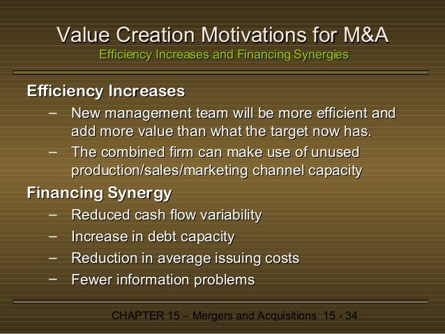 merger acquisitions and value creation Mergers and acquisitions – value creation for shareholders agw723 seminar in financial decision making lecturer: professor datin.