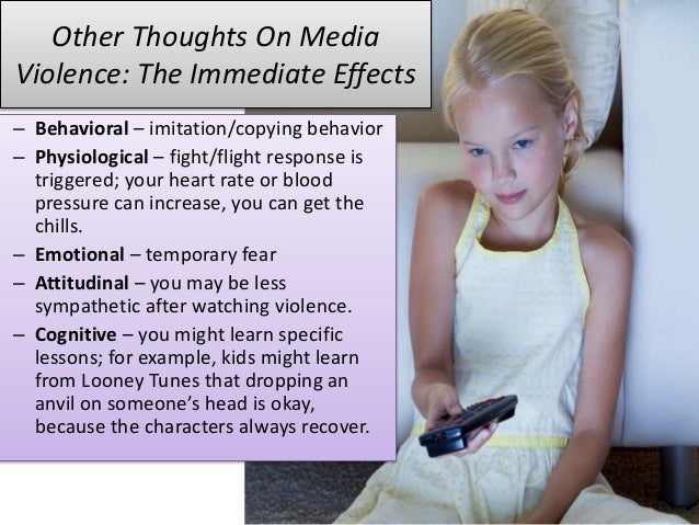 media violence and the effects on Violence and sex in music, movies, television and video games pose such a serious threat to children and teenagers that the nation's chief organization of.