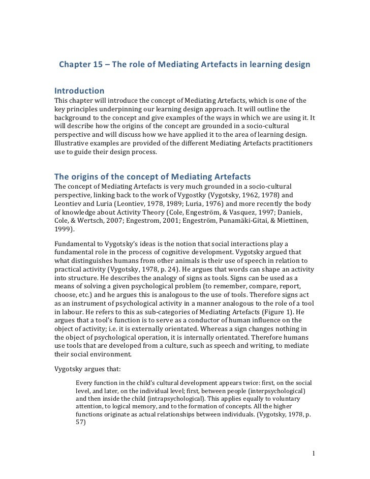 Chapter 15 – The role of Mediating Artefacts in learning design<br />Introduction<br />This chapter will introduce the con...