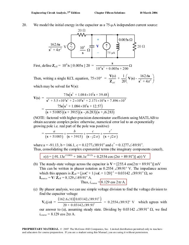 Chapter 15 Solutions To Exercises Engineering Circuit Analysis 7th