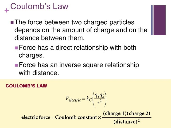 + Coulomb's Law  The force between two charged particles  depends on the amount of charge and on the  distance between th...