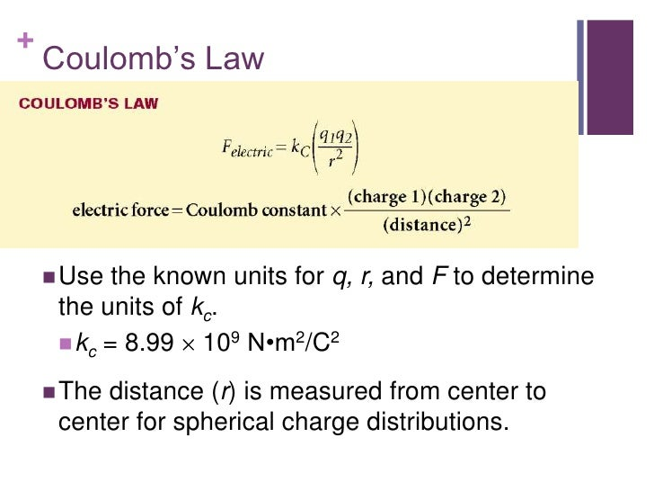 +    Coulomb's Law     Use  the known units for q, r, and F to determine     the units of kc.      kc = 8.99 109 N•m2/C2...