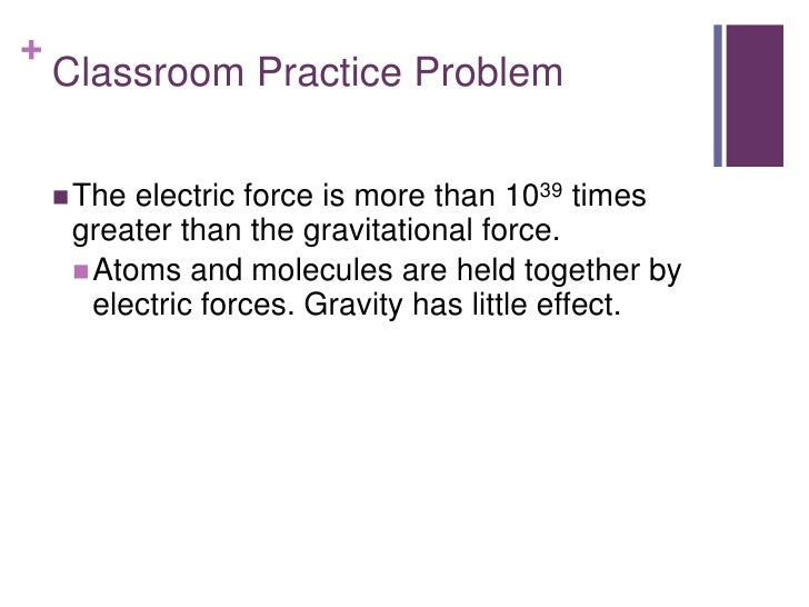 +    Classroom Practice Problem     The electric force is more than 1039 times     greater than the gravitational force. ...