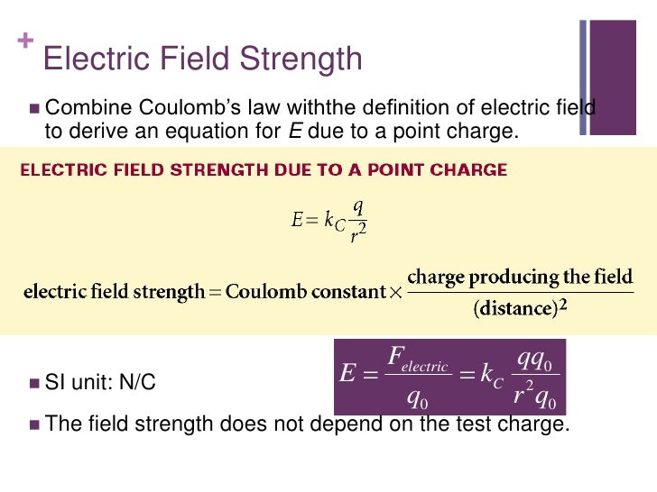 +    Electric Field Strength Combine     Coulomb's law withthe definition of electric field    to derive an equation for ...