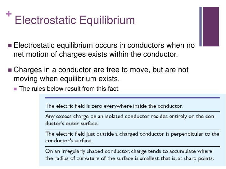 +    Electrostatic Equilibrium Electrostatic  equilibrium occurs in conductors when no    net motion of charges exists wi...