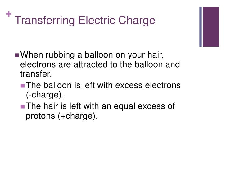 +    Transferring Electric Charge     When  rubbing a balloon on your hair,     electrons are attracted to the balloon an...