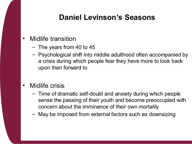 daniel levinson s theory of adulthood Life structures of early adulthood essay as levinson theory life structures of early adulthood essay daniel levinson's concept of life structure.