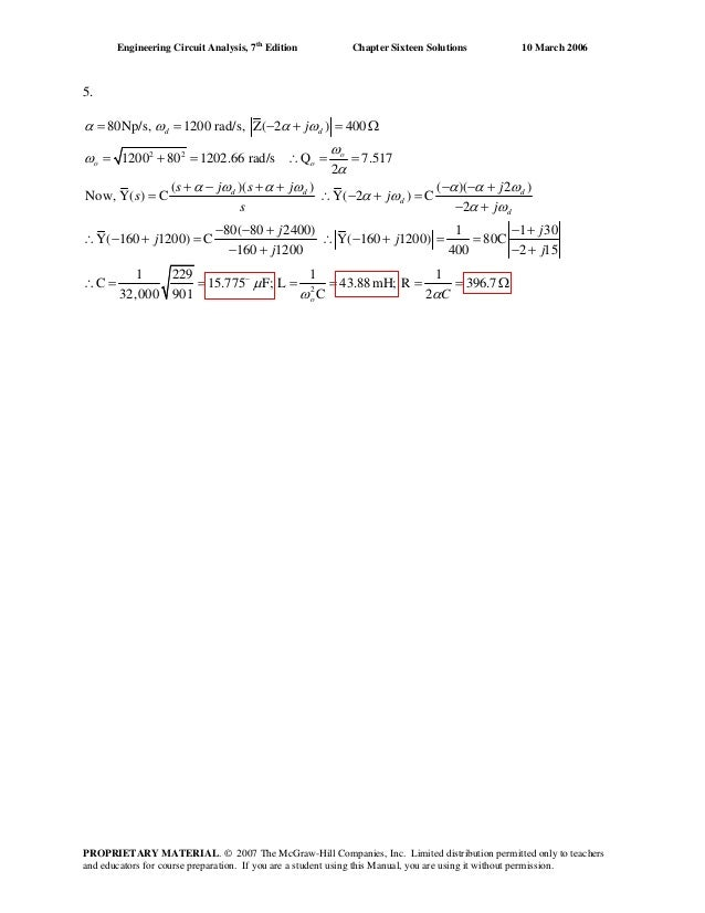 Chapter 16 Solutions To Exercises Engineering Circuit